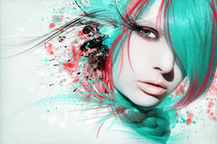 Mooie vrouw, Kunstwerk met inkt in grungestijl stock fotografie