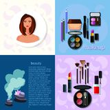 Mooie mooie vrouw in make-up! stock illustratie