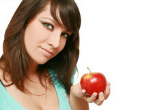 Mooie vrouw met appel Royalty-vrije Stock Foto's