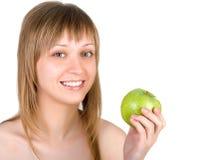 Mooie vrouw met appel Royalty-vrije Stock Foto