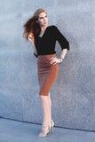 Mooie vrouw met avondsamenstelling Vrouwelijk model Stock Fotografie