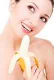 Mooie vrouw met banaan royalty-vrije stock afbeeldingen