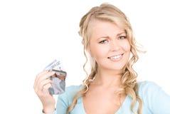 Mooie vrouw met beurs en geld stock fotografie