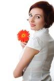 Mooie vrouw met bloem in haar handen Royalty-vrije Stock Afbeelding