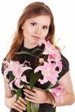 Mooie vrouw met bloemen royalty-vrije stock foto