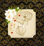 Mooie vrouw met bloemen royalty-vrije illustratie