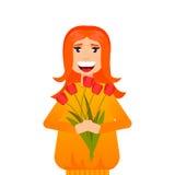 Mooie vrouw met bloemen Stock Afbeeldingen