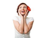 Mooie vrouw met bloemgerbera Stock Fotografie