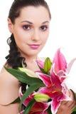 Mooie vrouw met bos van bloemen Royalty-vrije Stock Foto's