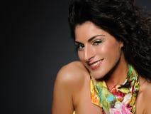Mooie vrouw met creatieve samenstelling, zuivere huid Stock Fotografie