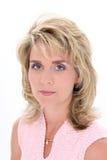 Mooie Vrouw met de Blauwe Ogen van het Haar van de Blonde Stock Foto