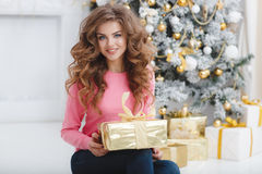 Mooie vrouw met de exemplaar-ruimte van Kerstmis Gift Stock Foto's
