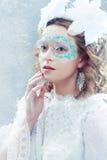Mooie vrouw met de make-up van de de winterstijl stock foto's