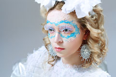 Mooie vrouw met de make-up van de de winterstijl royalty-vrije stock fotografie