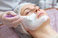 Mooie vrouw met een gezichtsmasker bij een schoonheidssalon stock foto's