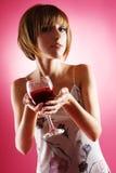 Mooie vrouw met een glas wijn Royalty-vrije Stock Foto's