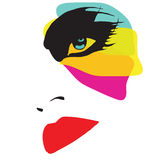 Mooie vrouw met excentric make-up Stock Foto's