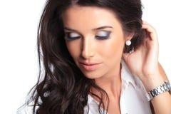 Mooie vrouw met gesloten ogen Stock Foto's