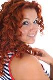 Mooie vrouw met gestript vest stock foto's