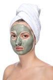Mooie vrouw met gezichts geïsoleerd masker, Stock Foto's