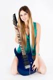 Mooie vrouw met gitaar Stock Fotografie