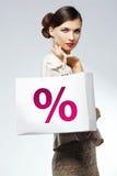 Mooie vrouw met het winkelen zak Stock Foto's