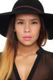 Mooie Vrouw met Hoed Stock Fotografie