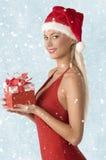 Mooie vrouw met Kerstmisgift stock foto's