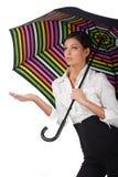 Mooie vrouw met kleurrijke paraplu op wit Royalty-vrije Stock Fotografie