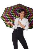 Mooie vrouw met kleurrijke paraplu op witte B royalty-vrije stock afbeeldingen