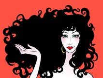 Mooie vrouw met krullend haar Vector Illustratie