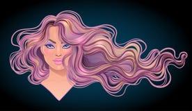 Mooie vrouw met lang golvend haar die in de wind stromen Haar sa royalty-vrije illustratie