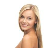 Mooie vrouw met lang haar Stock Foto