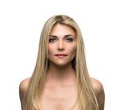 Mooie vrouw met lang recht blond haar royalty-vrije stock afbeeldingen