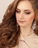 Mooie vrouw met make-up Stock Foto