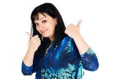 Mooie vrouw met omhoog duimen royalty-vrije stock afbeelding