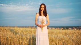 Mooie vrouw met oortarwe in het sensuele portret van de zonlichtzonsondergang op het gebied van de de zomeravond atmosferisch oge stock videobeelden