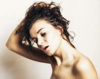 Mooie vrouw met orgasme stock foto's
