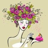 Mooie vrouw met parfumfles Stock Foto's