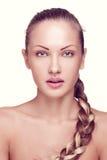Mooie vrouw met perfect huid en gezicht Royalty-vrije Stock Afbeeldingen