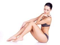 Mooie vrouw met perfect slank lichaam Stock Afbeelding