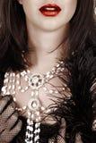 Mooie vrouw met rode lippenstift Stock Foto's