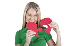 Mooie vrouw met rood hart Stock Afbeelding