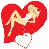 Mooie vrouw met rood hart Royalty-vrije Stock Afbeeldingen