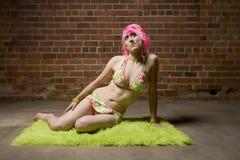 Mooie Vrouw met Roze Haar royalty-vrije stock foto's