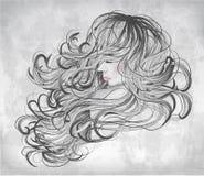 Mooie vrouw met stromend haar vector illustratie