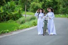 Mooie vrouw met traditionele de cultuur van Vietnam stock foto