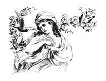 Mooie vrouw met vogels uitstekende illustratie Royalty-vrije Stock Foto's
