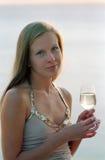 Mooie vrouw met wijnglas champagne royalty-vrije stock fotografie
