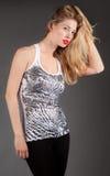 Mooie Vrouw in Mouwloos onderhemd en Beenkappen Stock Afbeeldingen